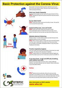 instruction poster protection again corona English