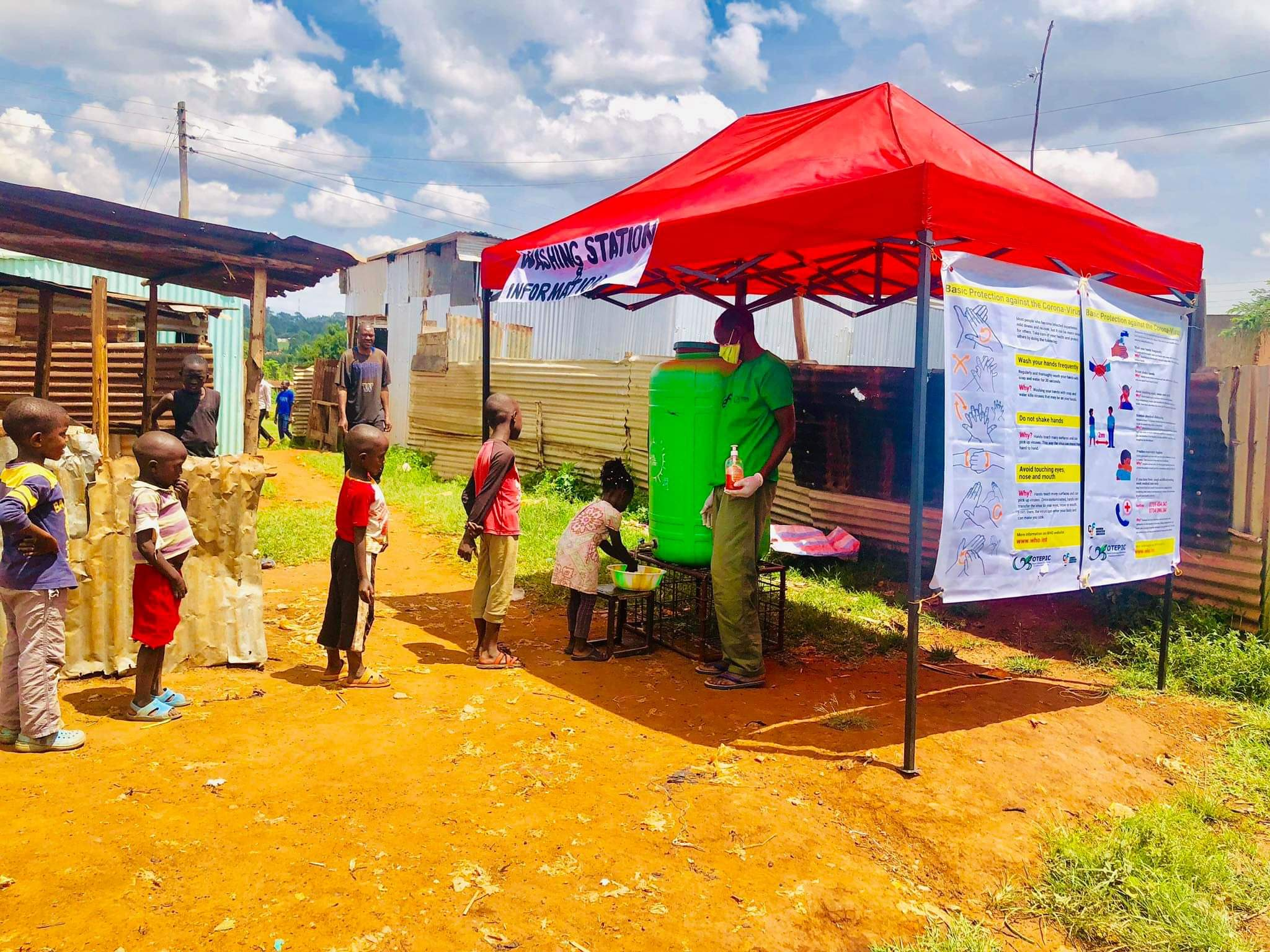 Two Hand-Washing and Info-Stations for Mitume started to work